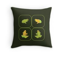 Four frogs Throw Pillow