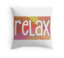 Relax - Bright Zendoodle Pattern - Hand Drawn Original Artwork Throw Pillow