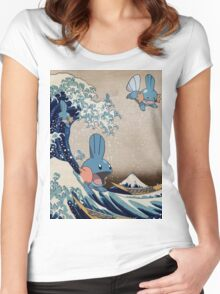 Mudkip Wave Women's Fitted Scoop T-Shirt