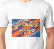 Vintage Colorful Greetings From Ocean City Unisex T-Shirt