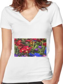 Iridescent Spring Women's Fitted V-Neck T-Shirt
