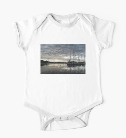 Soft Sky with Two Birds One Piece - Short Sleeve