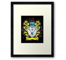 Blue Skull Coat of Arms Framed Print