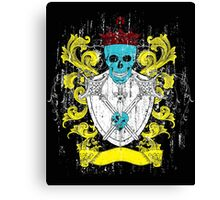 Blue Skull Coat of Arms Canvas Print