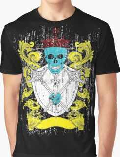Blue Skull Coat of Arms Graphic T-Shirt