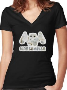 Marshmellow design with stroke Women's Fitted V-Neck T-Shirt