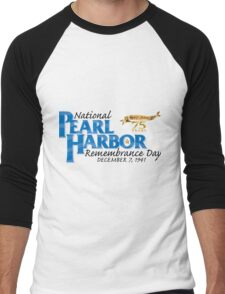 Pearl Harbor Remembrance Day 75th Anniversary Logo Men's Baseball ¾ T-Shirt