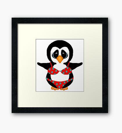 Beach Penguin in Floral Swimsuit Framed Print
