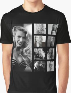 Blake Lively black and white Graphic T-Shirt