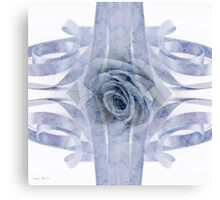Blue Rose And Ribbon Lace Canvas Print