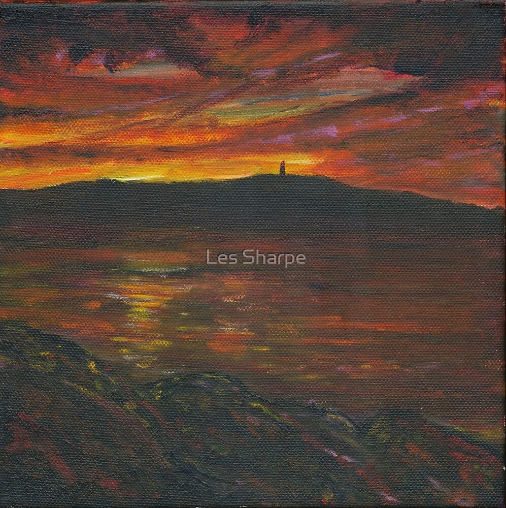 Sunset Over Scrabo Tower by Les Sharpe