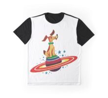 Cute Vintage Space Dog Graphic T-Shirt