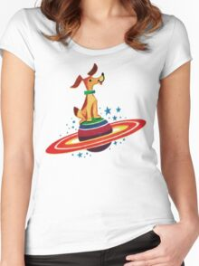 Cute Vintage Space Dog Women's Fitted Scoop T-Shirt