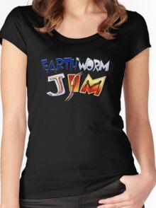Earthworm Jim Logo Women's Fitted Scoop T-Shirt