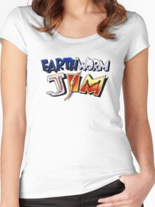 Earthworm Jim Logo Women's Fitted Scoop T-Shirt