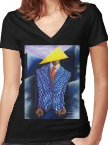 Triangle Man Women's Fitted V-Neck T-Shirt
