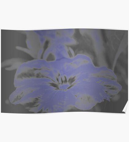 Bloom in Neon Blue Poster