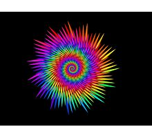 Spiked Rainbow Spiral Medallion Motif  Photographic Print