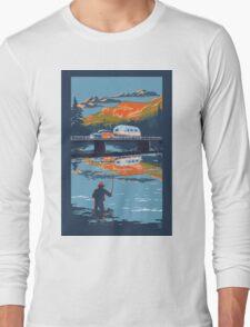 Retro Airstream travel poster Long Sleeve T-Shirt
