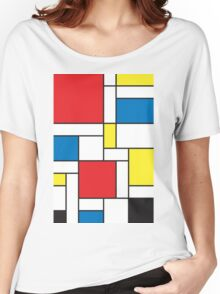 Geometric Grids and Boxes in Bold Colors (Mondrian Style) Women's Relaxed Fit T-Shirt