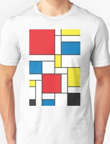 Geometric Grids and Boxes in Bold Colors (Mondrian Style) Unisex T-Shirt