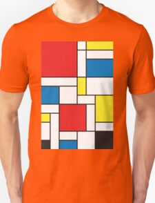 Geometric Grids and Boxes in Bold Colors (Mondrian Style) T-Shirt
