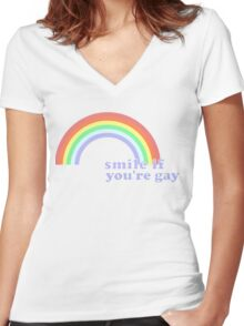 Smile If You're Gay Women's Fitted V-Neck T-Shirt