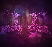 Ornamental Deer Background 3 by AnnArtshock