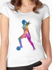 Girl playing soccer football player silhouette Women's Fitted Scoop T-Shirt