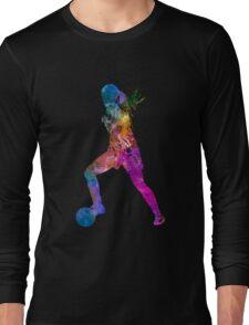 Girl playing soccer football player silhouette Long Sleeve T-Shirt