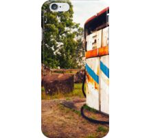 Old rustic pump at an abandoned fuel station iPhone Case/Skin
