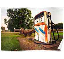 Old rustic pump at an abandoned fuel station Poster