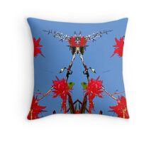 Red flowers, blue sky, mirror Throw Pillow