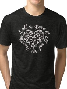 Breathe It All In, Love It All Out. Yoga. Tri-blend T-Shirt
