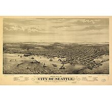 City of Seattle Puget Sound Washington Map (1878) Photographic Print