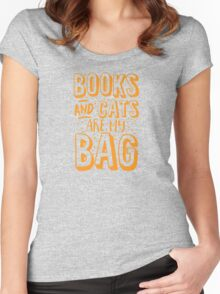 BOOKS AND CATS are my BAG Women's Fitted Scoop T-Shirt