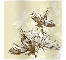 Classic hand painted flowers Poster
