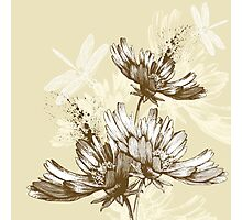Classic hand painted flowers Photographic Print