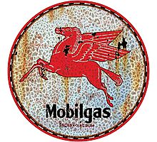 Vintage Mobil Gas and Oil sign rusty as heck Photographic Print