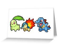 Johto Region Pixel Starters: FIXED! Greeting Card