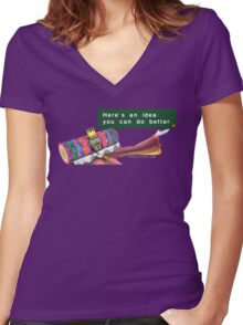 """Katamari- King of all Cosmos """"Here's an idea: You can do better.""""  Women's Fitted V-Neck T-Shirt"""