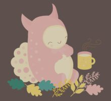 Monster and mug of tea in autumn forest Baby Tee