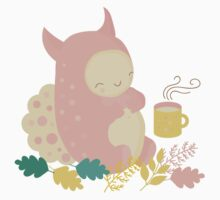 Monster and mug of tea in autumn forest Kids Tee