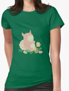 Monster and mug of tea in autumn forest Womens Fitted T-Shirt