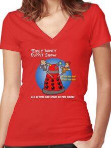 Timey Wimey Puppet Show Women's Fitted V-Neck T-Shirt