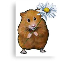 Cute Hamster with Daisy Flower, Original Art Canvas Print