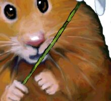 Cute Hamster with Daisy Flower, Original Art Sticker