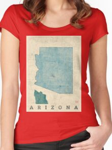 Arizona State Map Blue Vintage Women's Fitted Scoop T-Shirt