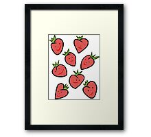 Happy Strawberries Framed Print