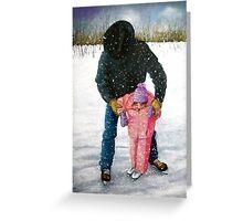 Cowboy Dad Teaching Daughter to Skate: Oil Pastel, Winter Greeting Card